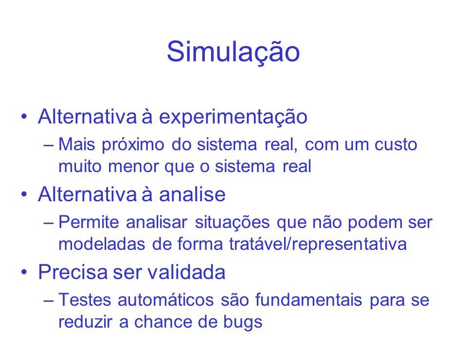 Simulação Alternativa à experimentação Alternativa à analise