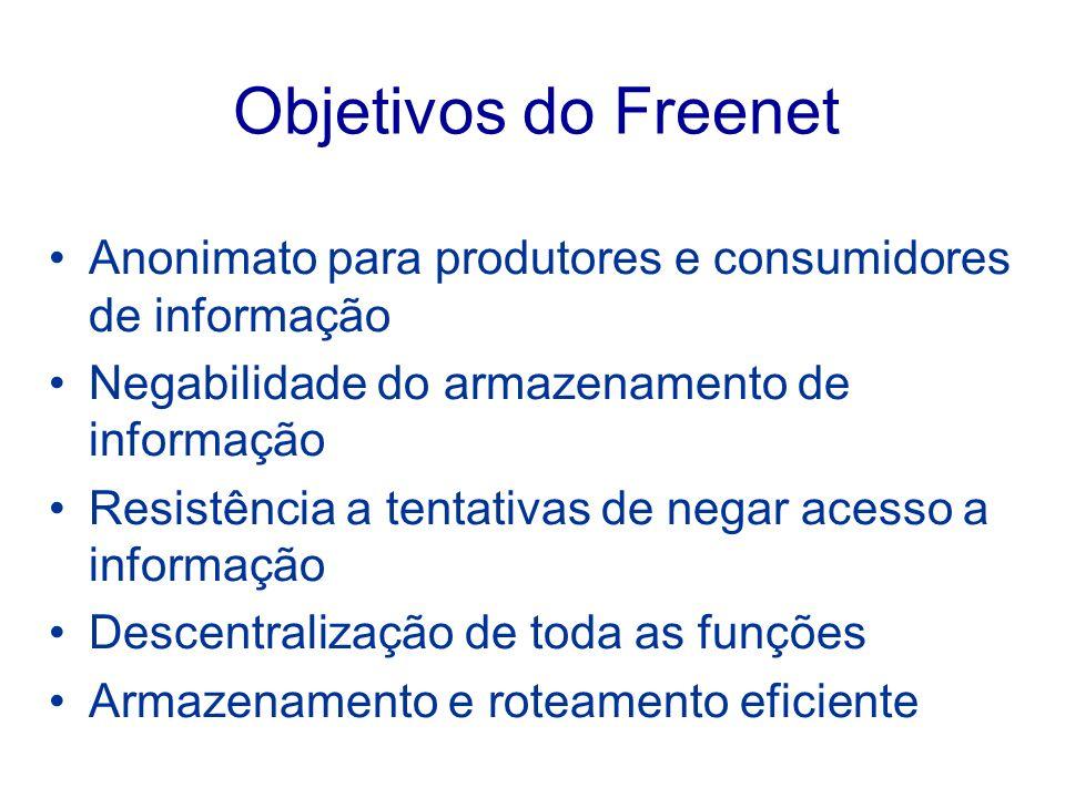 Objetivos do Freenet Anonimato para produtores e consumidores de informação. Negabilidade do armazenamento de informação.
