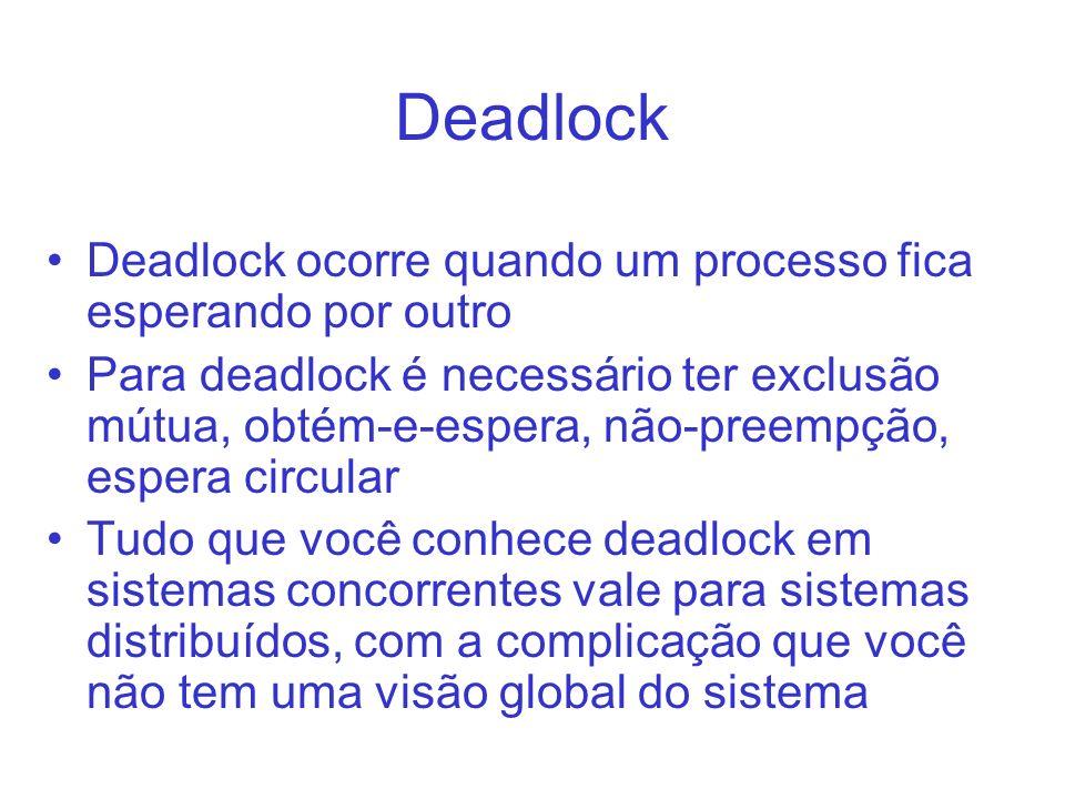 Deadlock Deadlock ocorre quando um processo fica esperando por outro