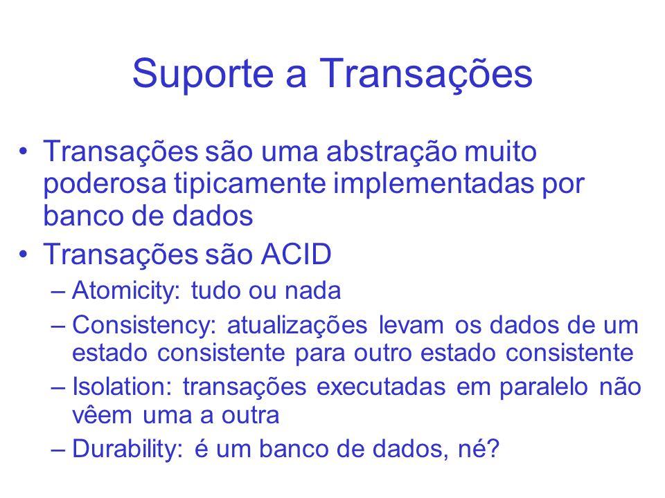 Suporte a Transações Transações são uma abstração muito poderosa tipicamente implementadas por banco de dados.