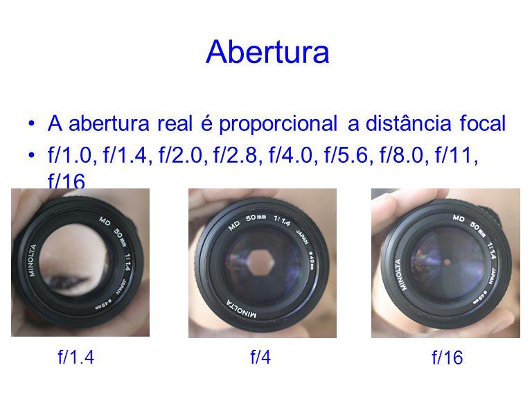 Abertura A abertura real é proporcional a distância focal