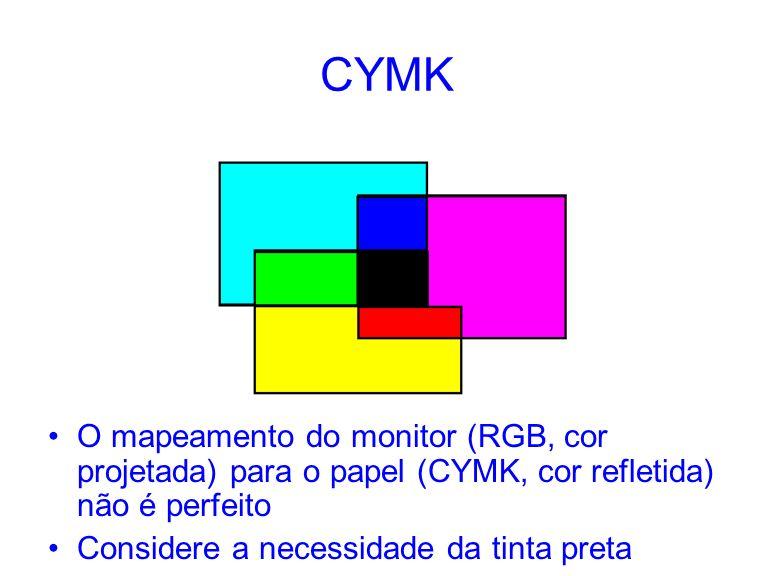 CYMK O mapeamento do monitor (RGB, cor projetada) para o papel (CYMK, cor refletida) não é perfeito.