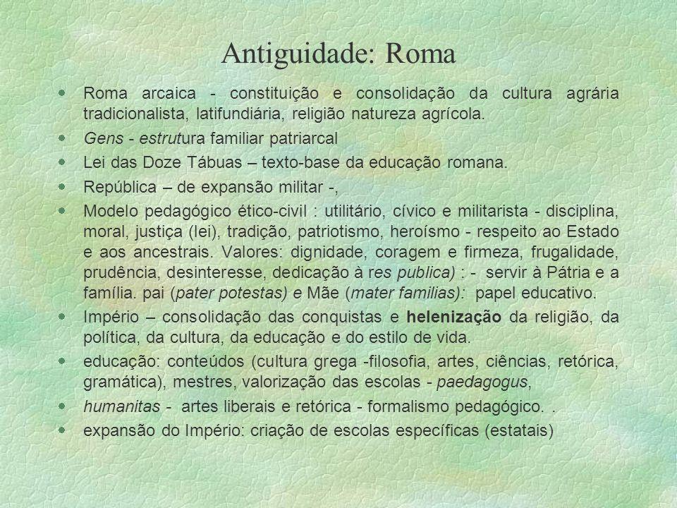 Antiguidade: Roma Roma arcaica - constituição e consolidação da cultura agrária tradicionalista, latifundiária, religião natureza agrícola.