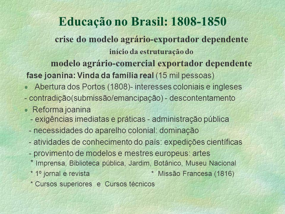 Educação no Brasil: 1808-1850 crise do modelo agrário-exportador dependente. início da estruturação do.