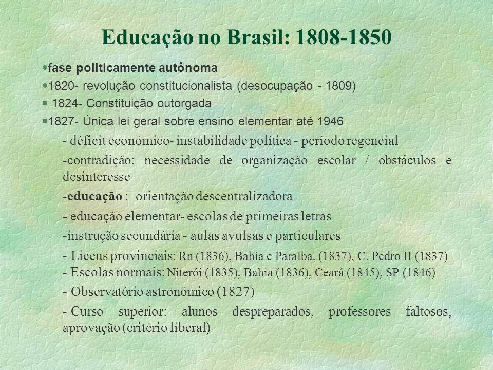 Educação no Brasil: 1808-1850 fase politicamente autônoma. 1820- revolução constitucionalista (desocupação - 1809)
