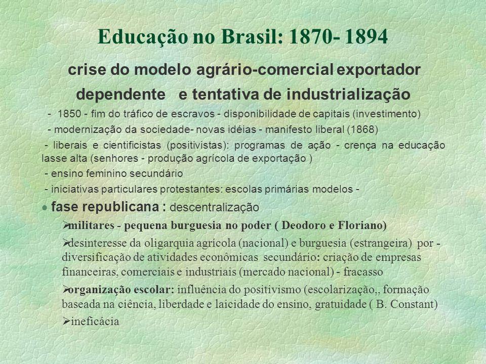 Educação no Brasil: 1870- 1894 fase republicana : descentralização