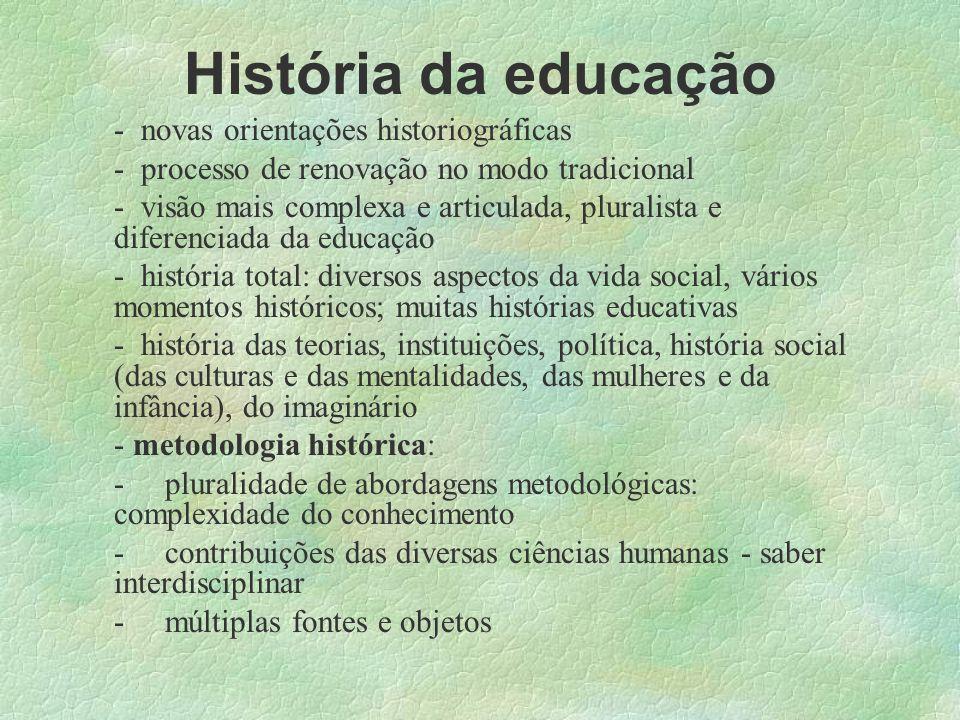 História da educação novas orientações historiográficas