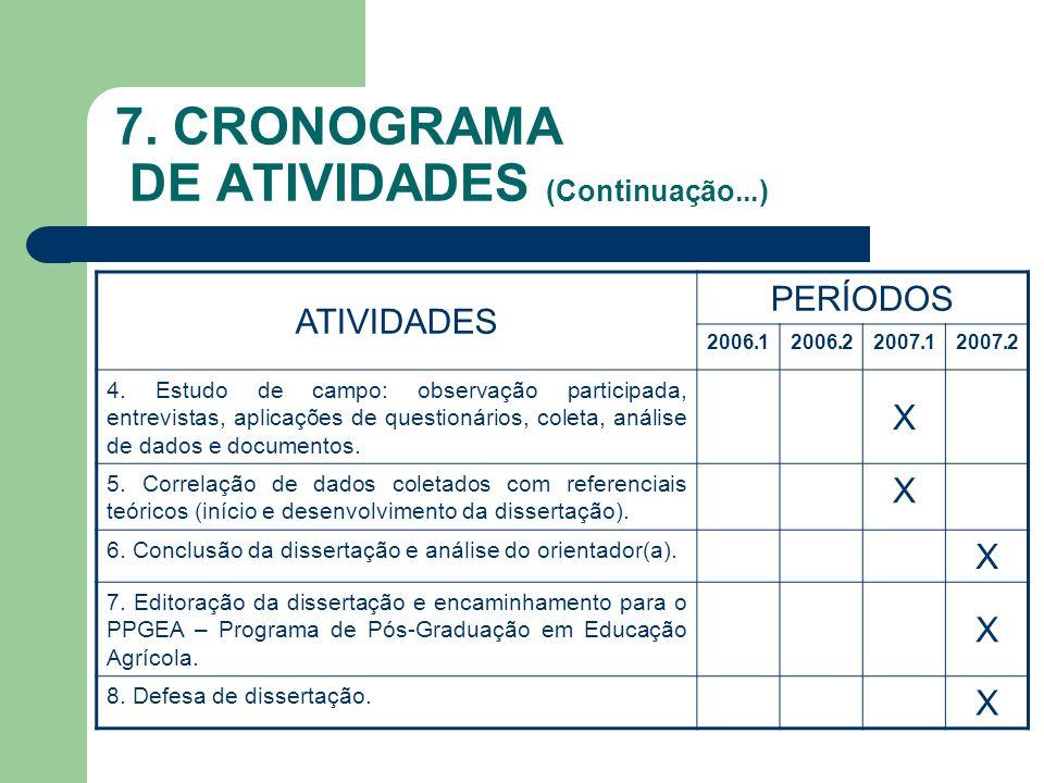 7. CRONOGRAMA DE ATIVIDADES (Continuação...)