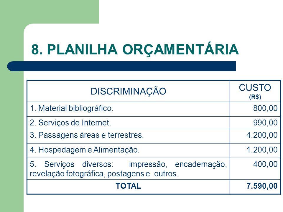 8. PLANILHA ORÇAMENTÁRIA
