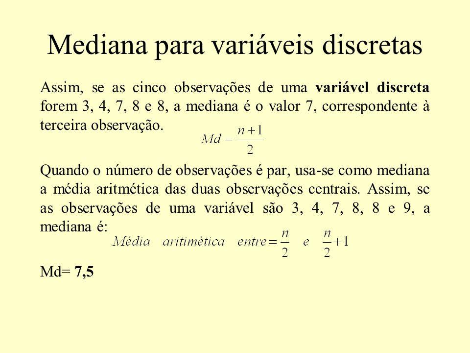 Mediana para variáveis discretas