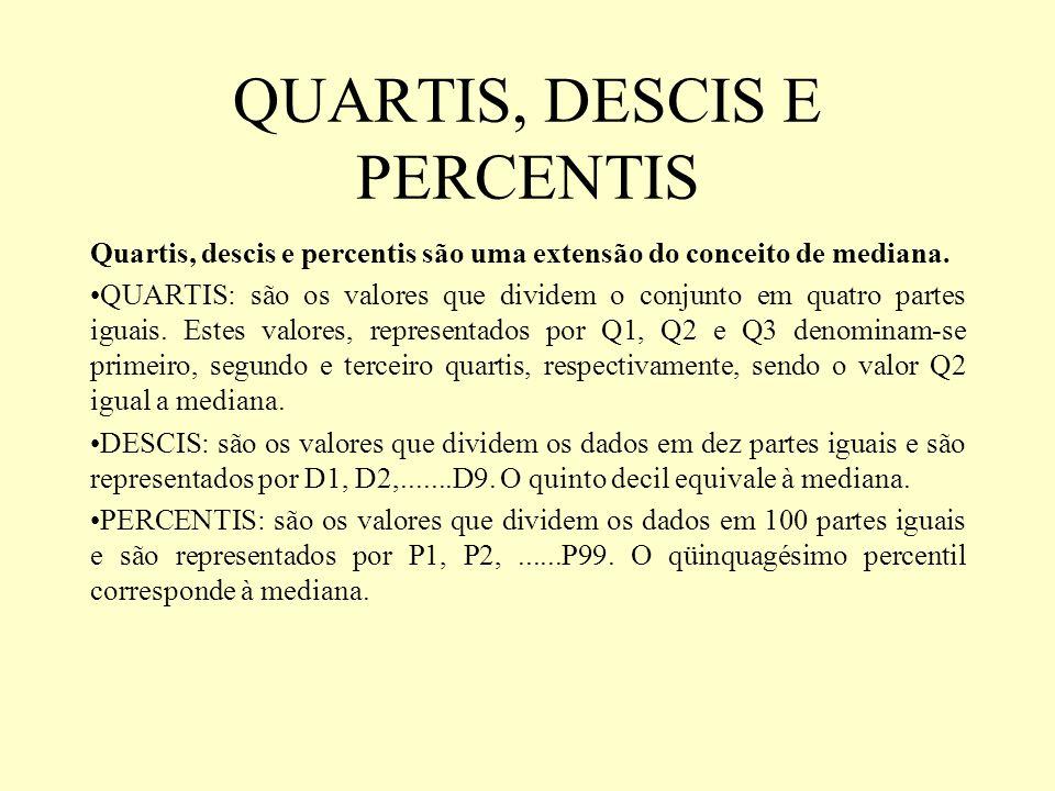 QUARTIS, DESCIS E PERCENTIS