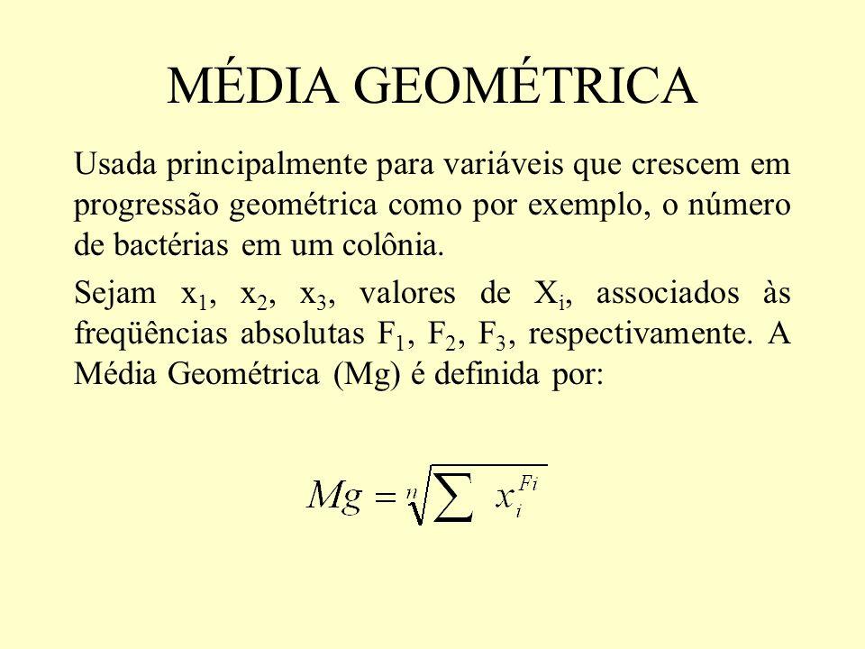 MÉDIA GEOMÉTRICA Usada principalmente para variáveis que crescem em progressão geométrica como por exemplo, o número de bactérias em um colônia.
