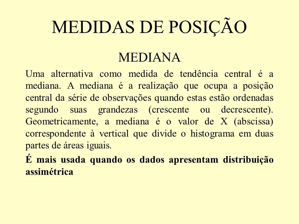 MEDIDAS DE POSIÇÃO MEDIANA