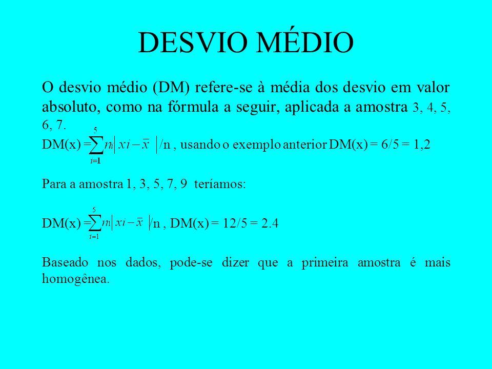 DESVIO MÉDIO O desvio médio (DM) refere-se à média dos desvio em valor absoluto, como na fórmula a seguir, aplicada a amostra 3, 4, 5, 6, 7.