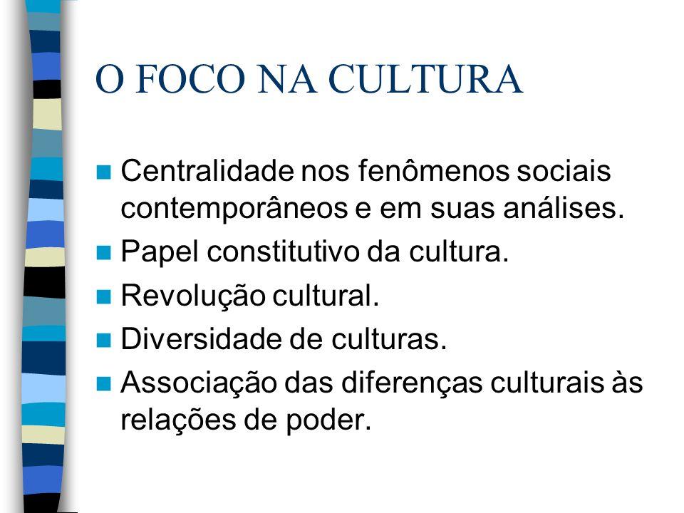 O FOCO NA CULTURA Centralidade nos fenômenos sociais contemporâneos e em suas análises. Papel constitutivo da cultura.