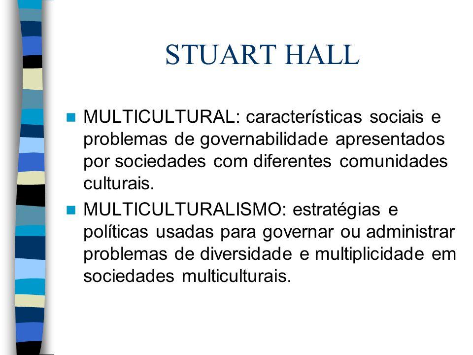STUART HALLMULTICULTURAL: características sociais e problemas de governabilidade apresentados por sociedades com diferentes comunidades culturais.