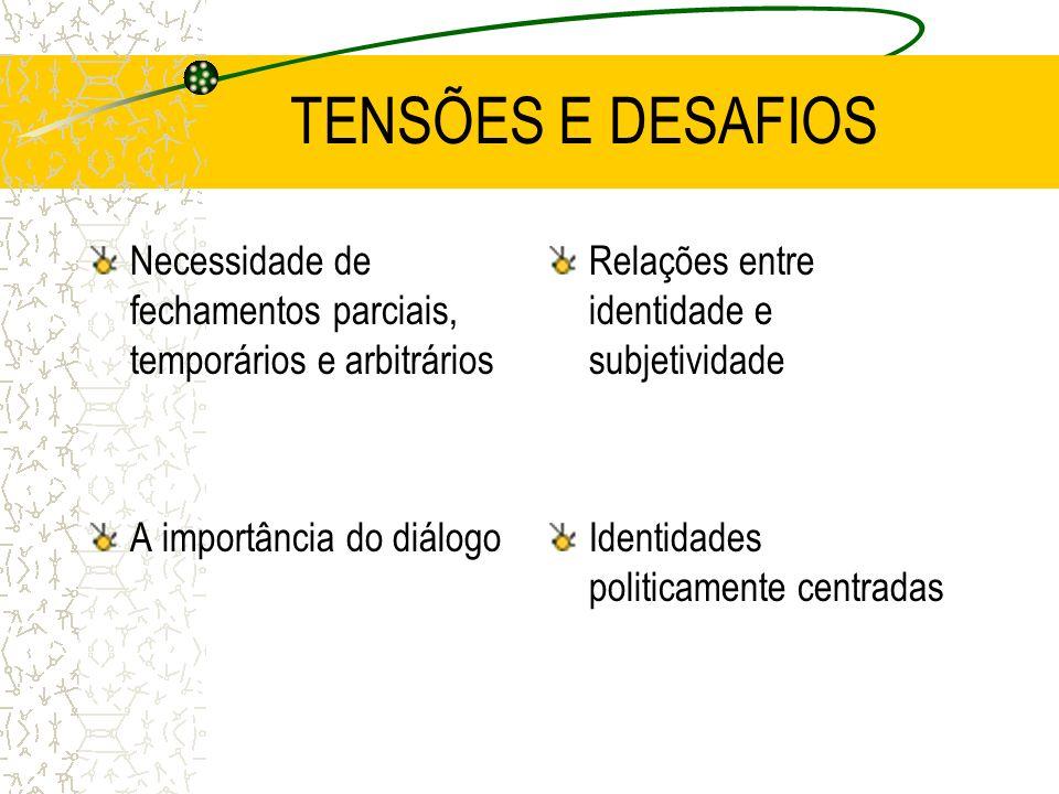 TENSÕES E DESAFIOS Necessidade de fechamentos parciais, temporários e arbitrários. A importância do diálogo.