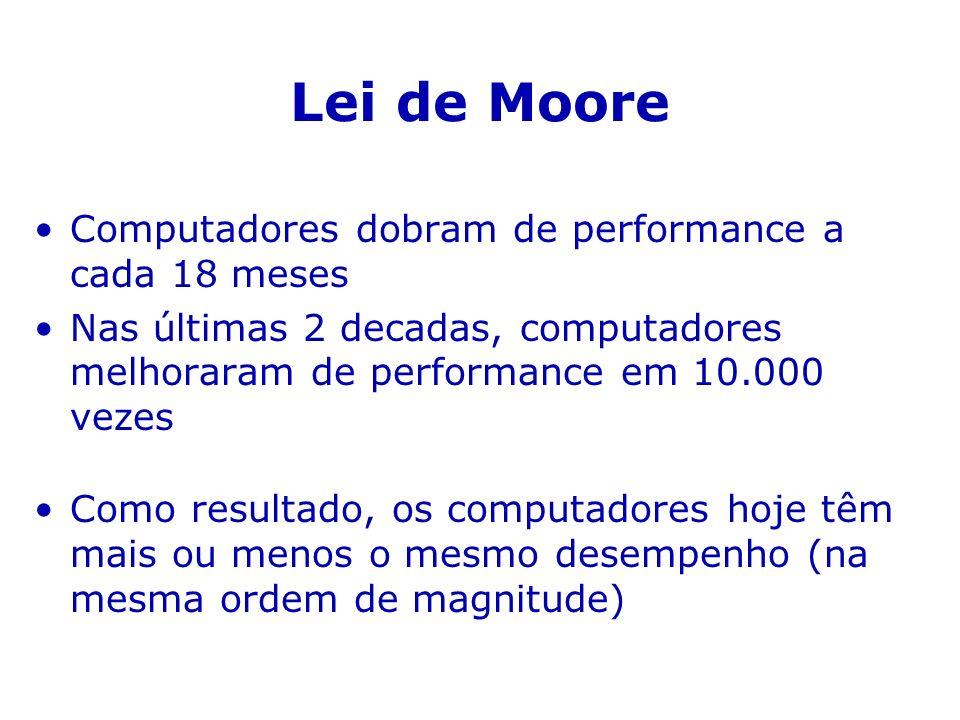 Lei de Moore Computadores dobram de performance a cada 18 meses