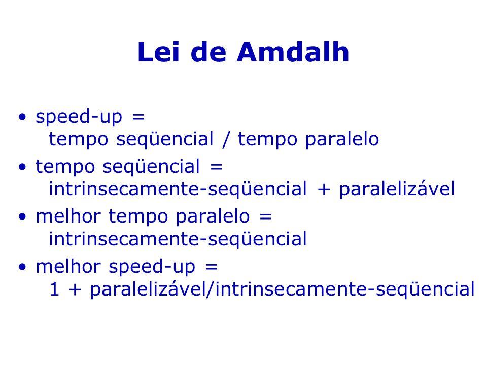 Lei de Amdalh speed-up = tempo seqüencial / tempo paralelo