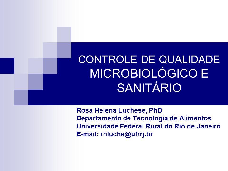CONTROLE DE QUALIDADE MICROBIOLÓGICO E SANITÁRIO