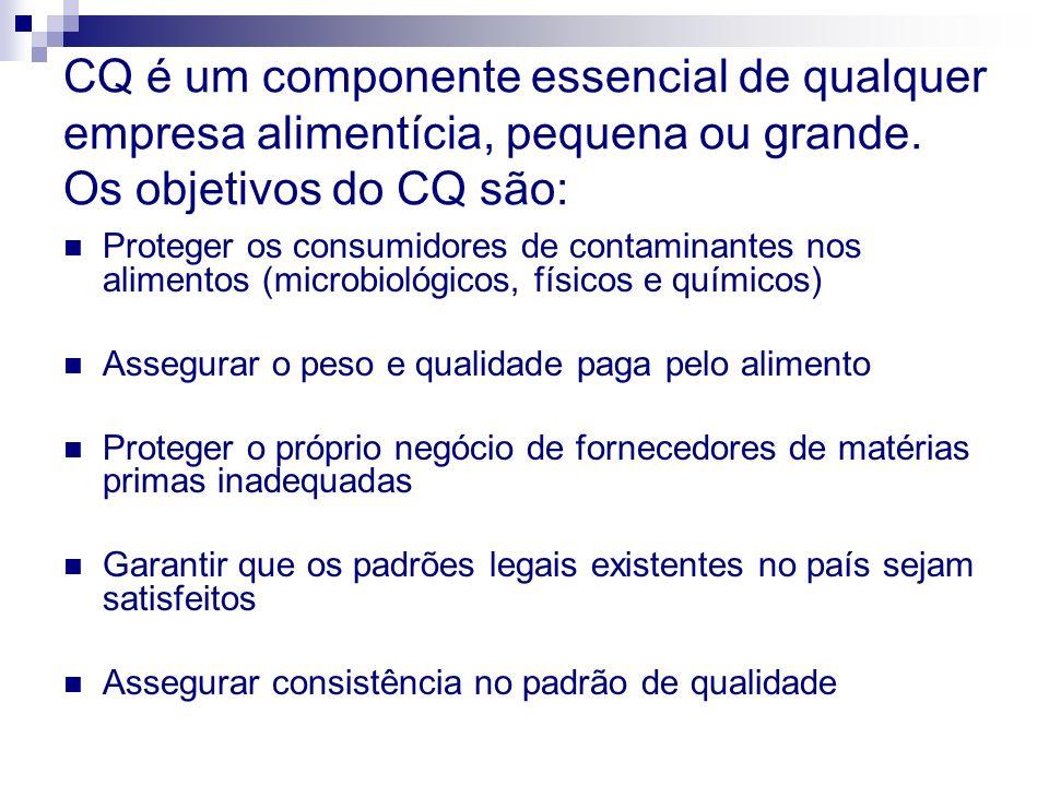 CQ é um componente essencial de qualquer empresa alimentícia, pequena ou grande. Os objetivos do CQ são:
