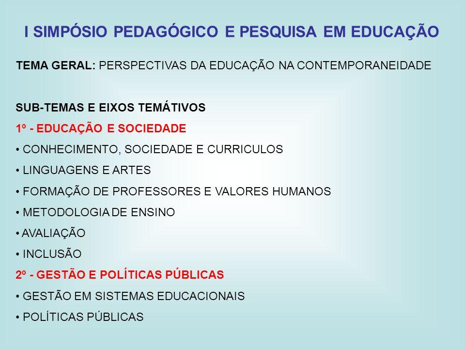 I SIMPÓSIO PEDAGÓGICO E PESQUISA EM EDUCAÇÃO