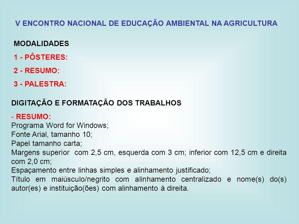 V ENCONTRO NACIONAL DE EDUCAÇÃO AMBIENTAL NA AGRICULTURA