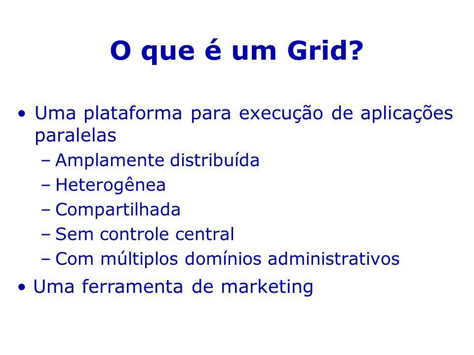 O que é um Grid Uma plataforma para execução de aplicações paralelas