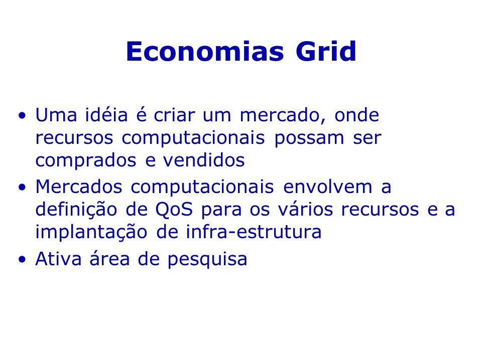 Economias Grid Uma idéia é criar um mercado, onde recursos computacionais possam ser comprados e vendidos.