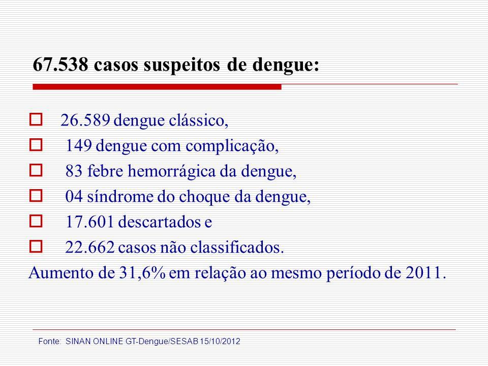 67.538 casos suspeitos de dengue: