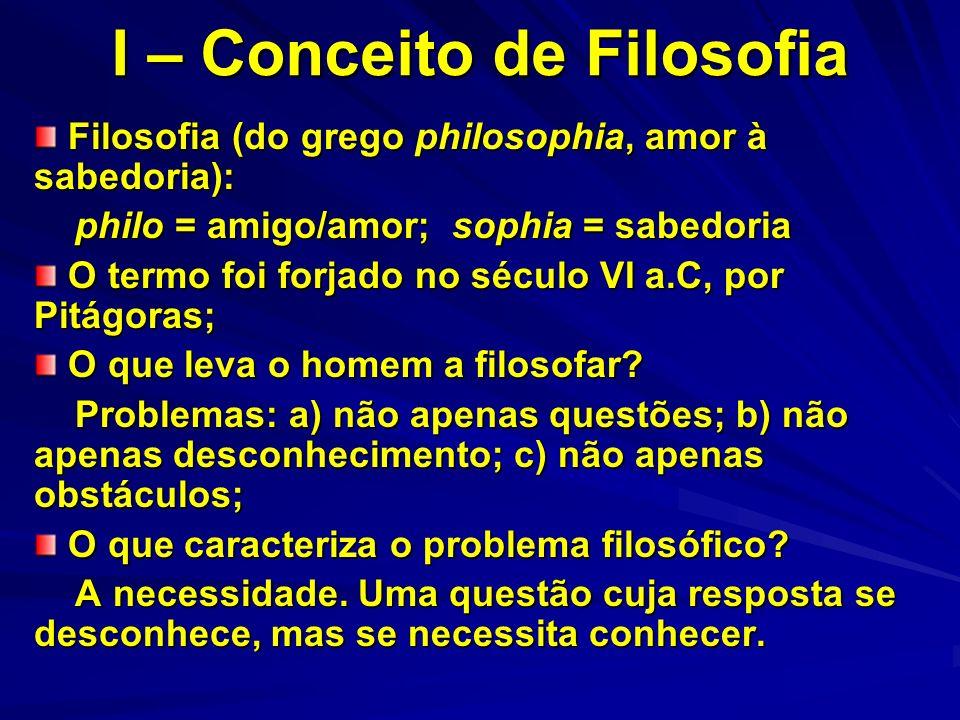 I – Conceito de Filosofia