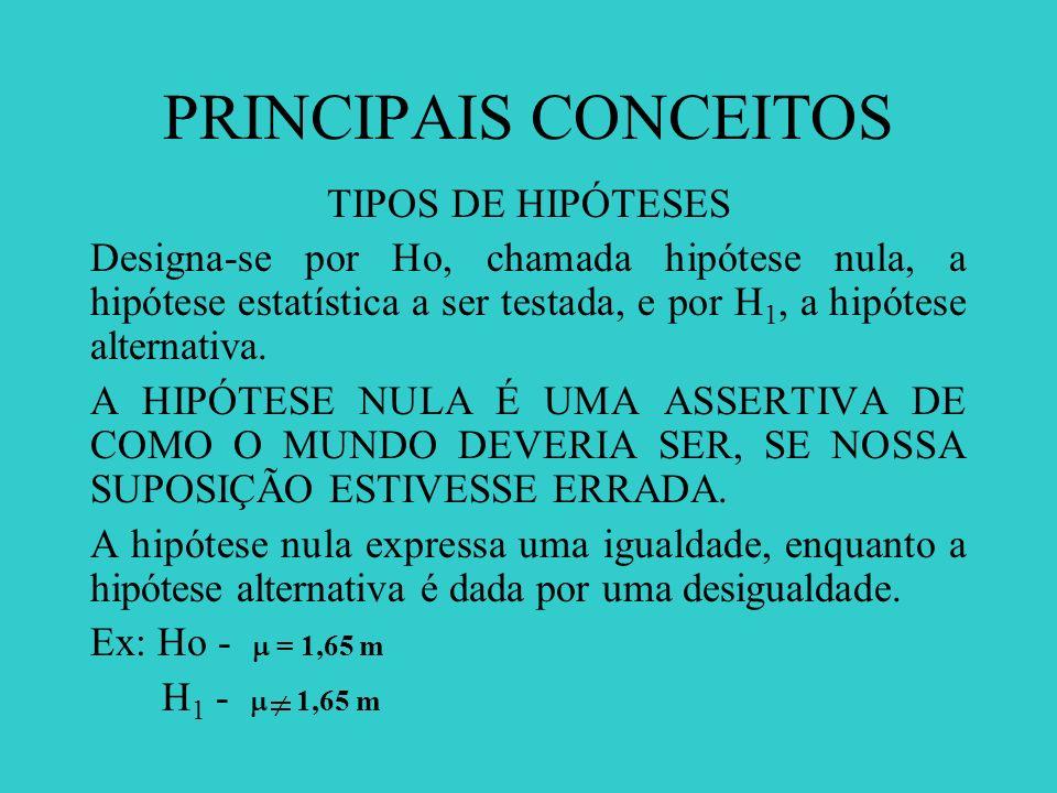 PRINCIPAIS CONCEITOS TIPOS DE HIPÓTESES