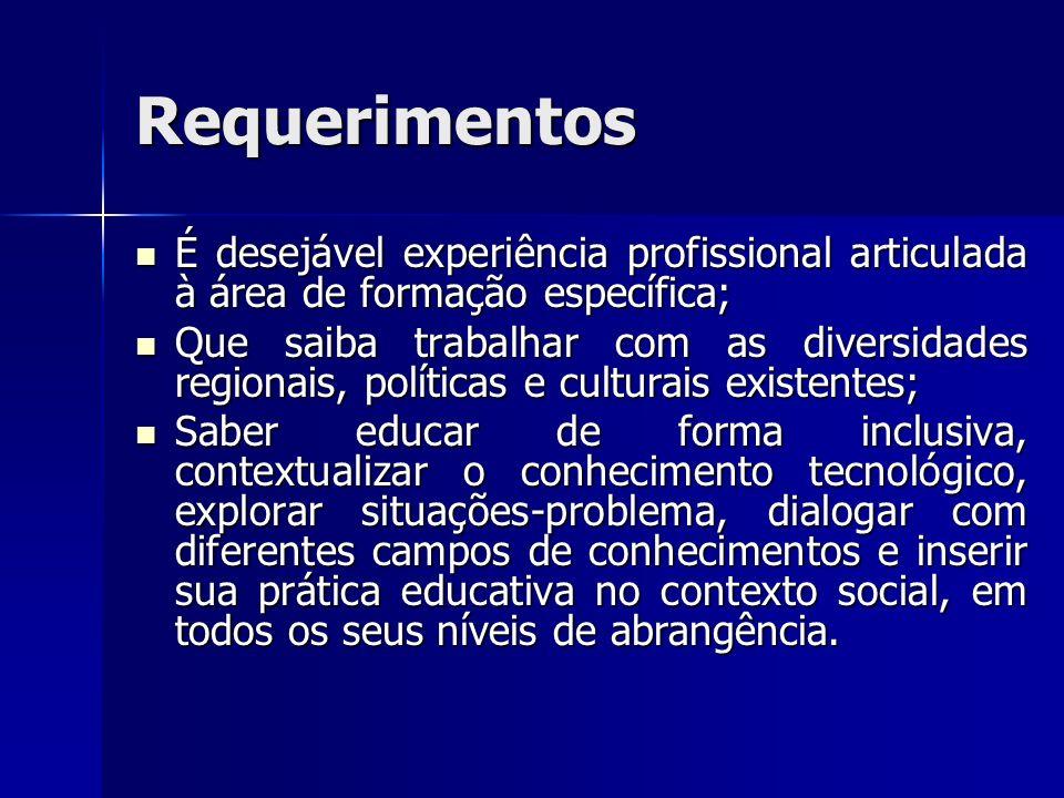 Requerimentos É desejável experiência profissional articulada à área de formação específica;