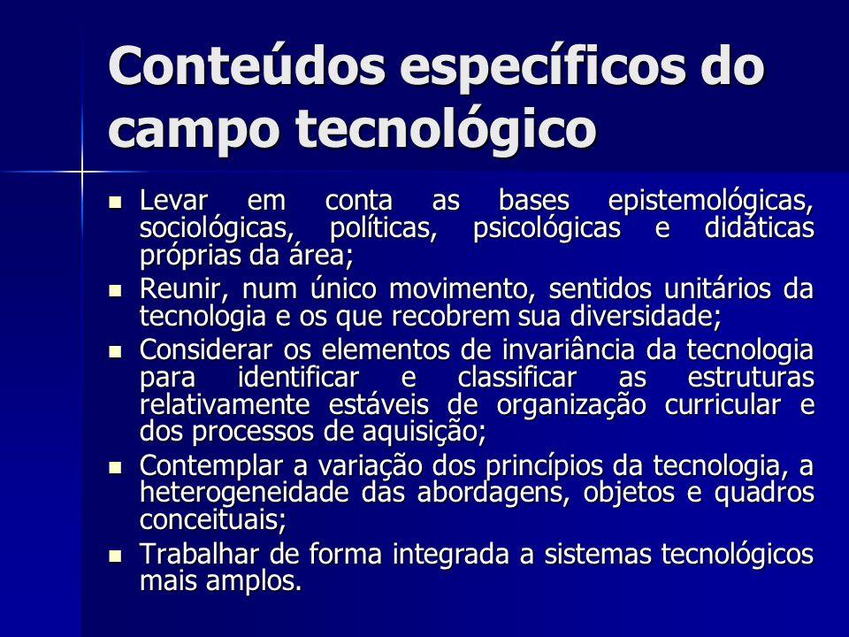 Conteúdos específicos do campo tecnológico