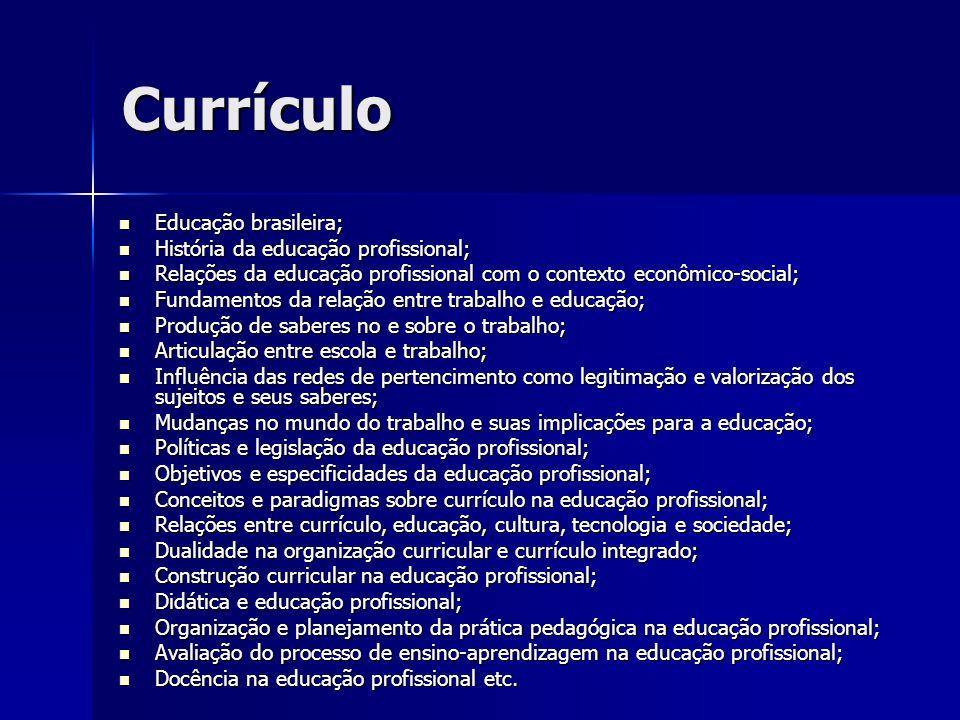 Currículo Educação brasileira; História da educação profissional;