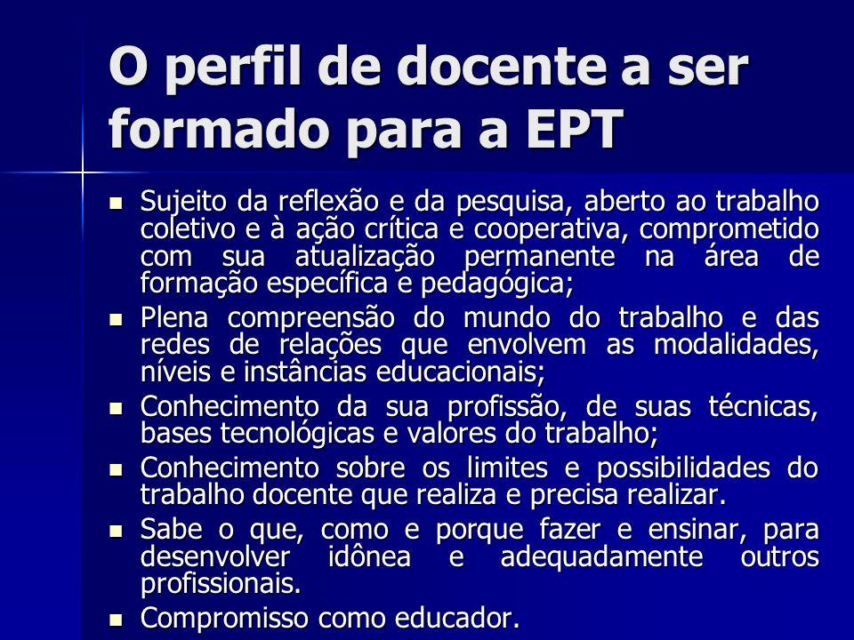 O perfil de docente a ser formado para a EPT