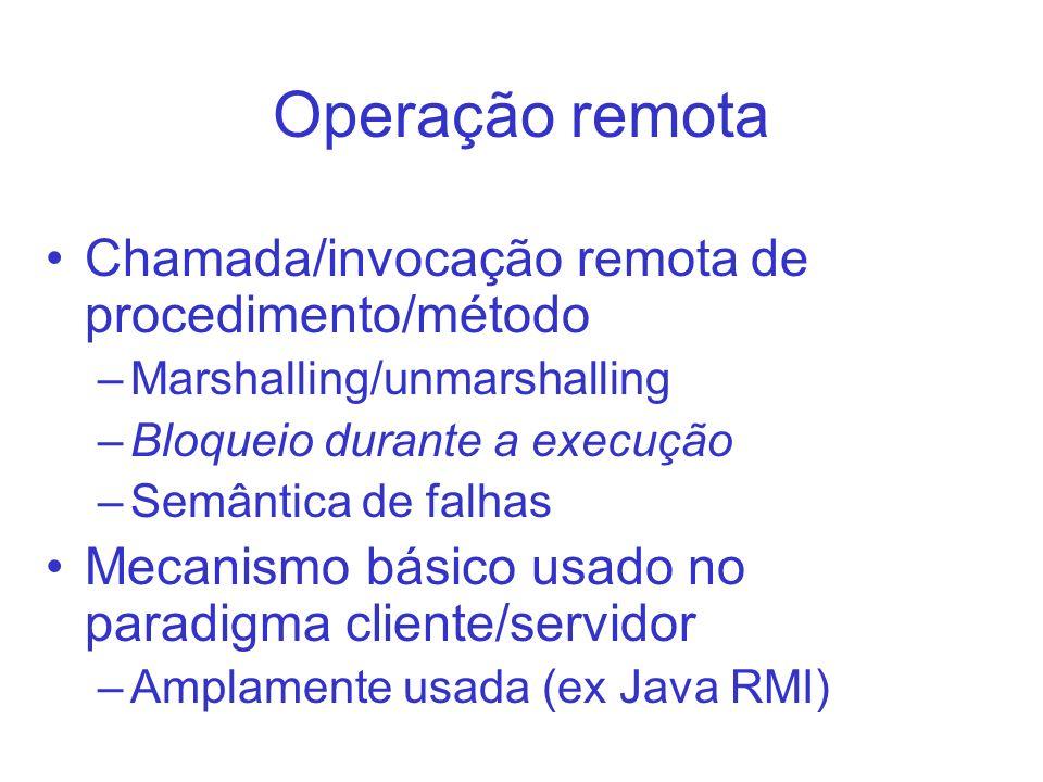 Operação remota Chamada/invocação remota de procedimento/método