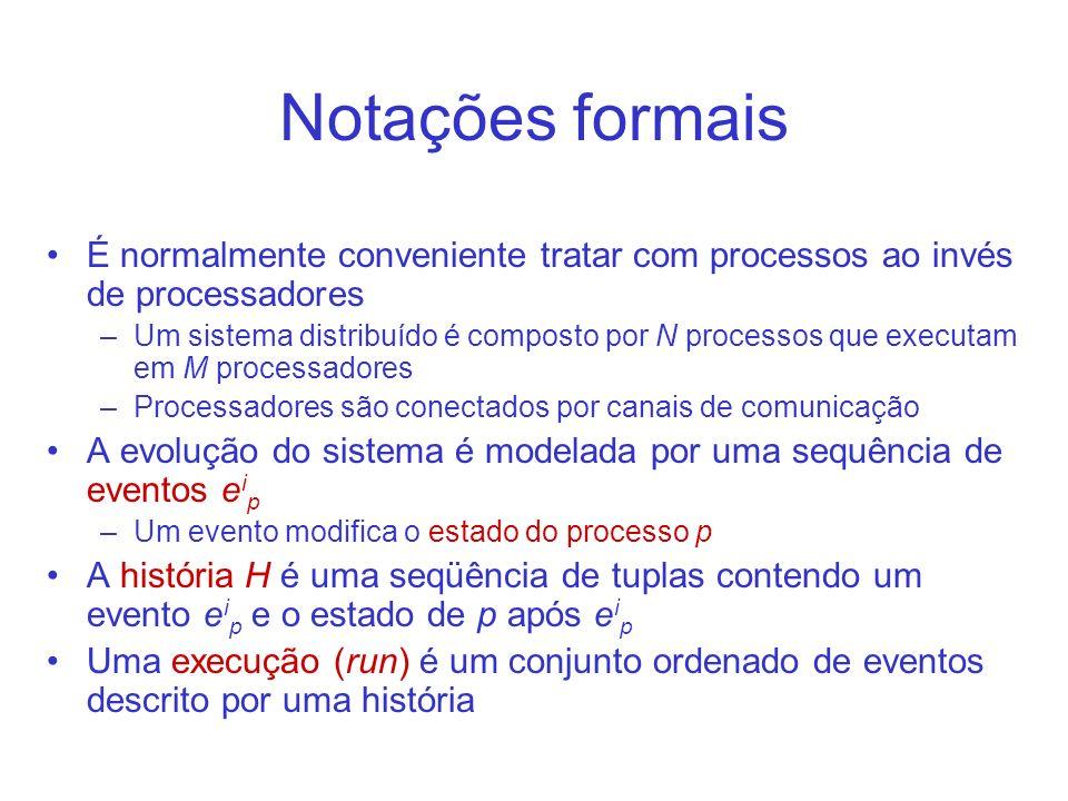 Notações formais É normalmente conveniente tratar com processos ao invés de processadores.