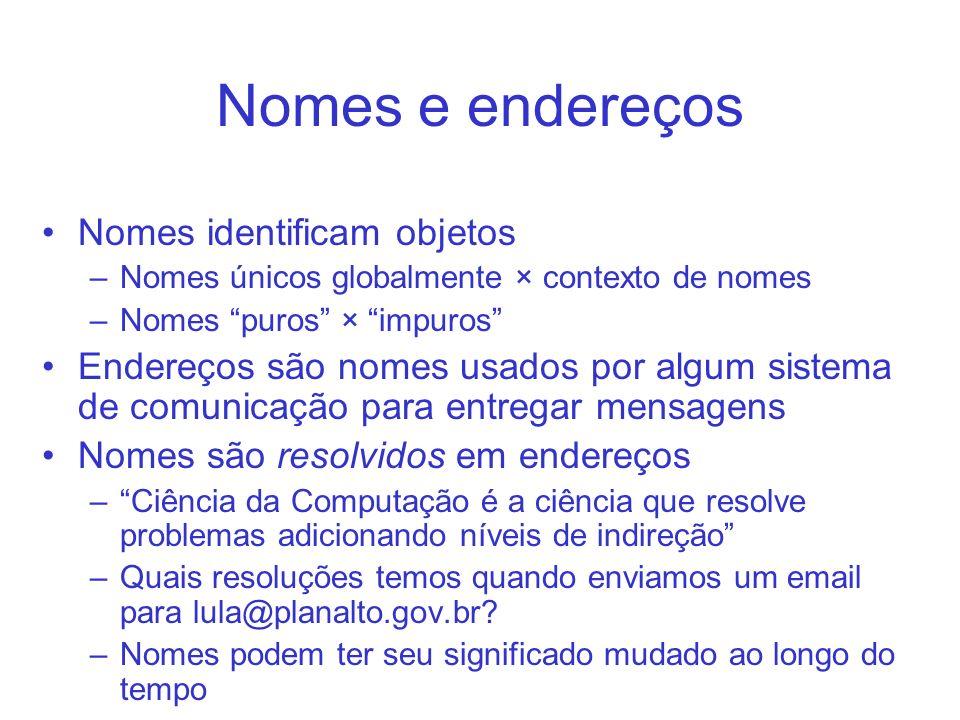 Nomes e endereços Nomes identificam objetos