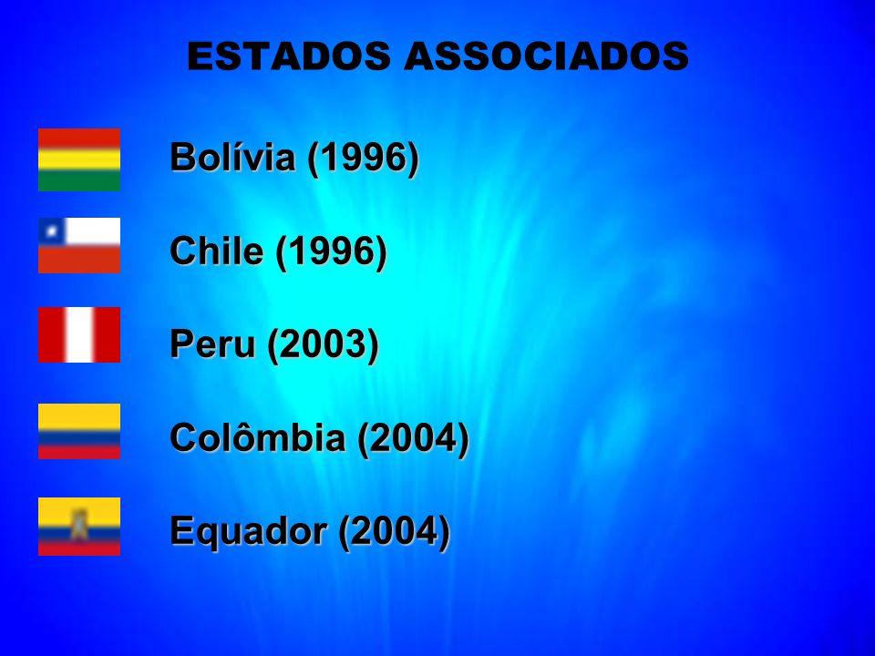 ESTADOS ASSOCIADOS Bolívia (1996) Chile (1996) Peru (2003) Colômbia (2004) Equador (2004)