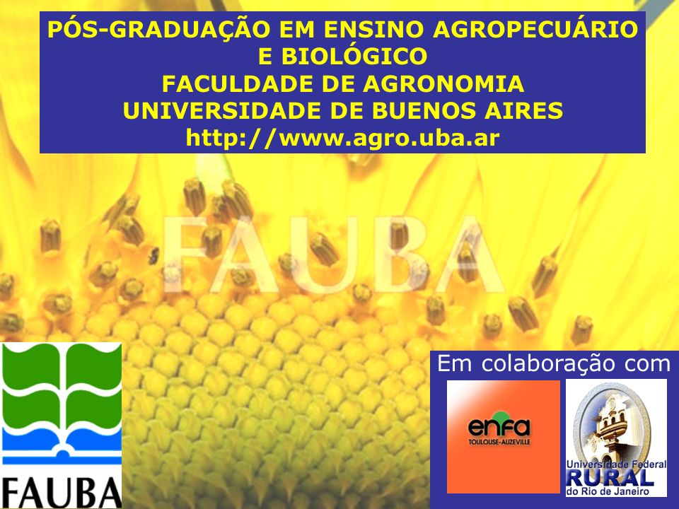 PÓS-GRADUAÇÃO EM ENSINO AGROPECUÁRIO E BIOLÓGICO