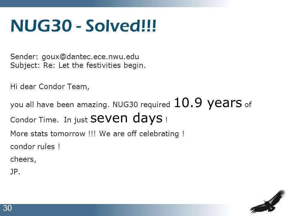 NUG30 - Solved!!!Sender: goux@dantec.ece.nwu.edu Subject: Re: Let the festivities begin. Hi dear Condor Team,