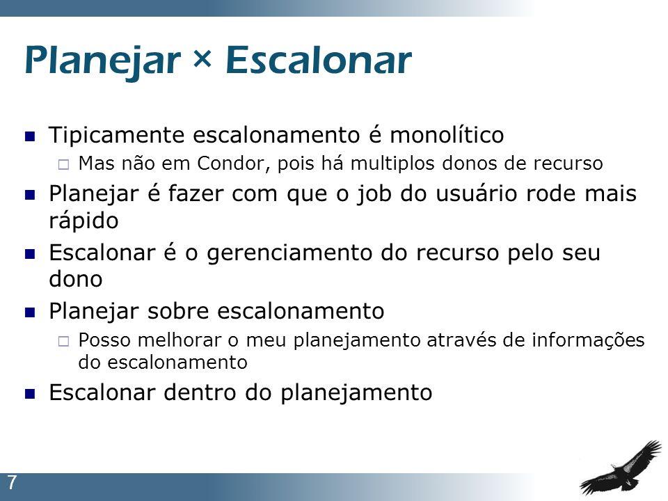 Planejar × Escalonar Tipicamente escalonamento é monolítico