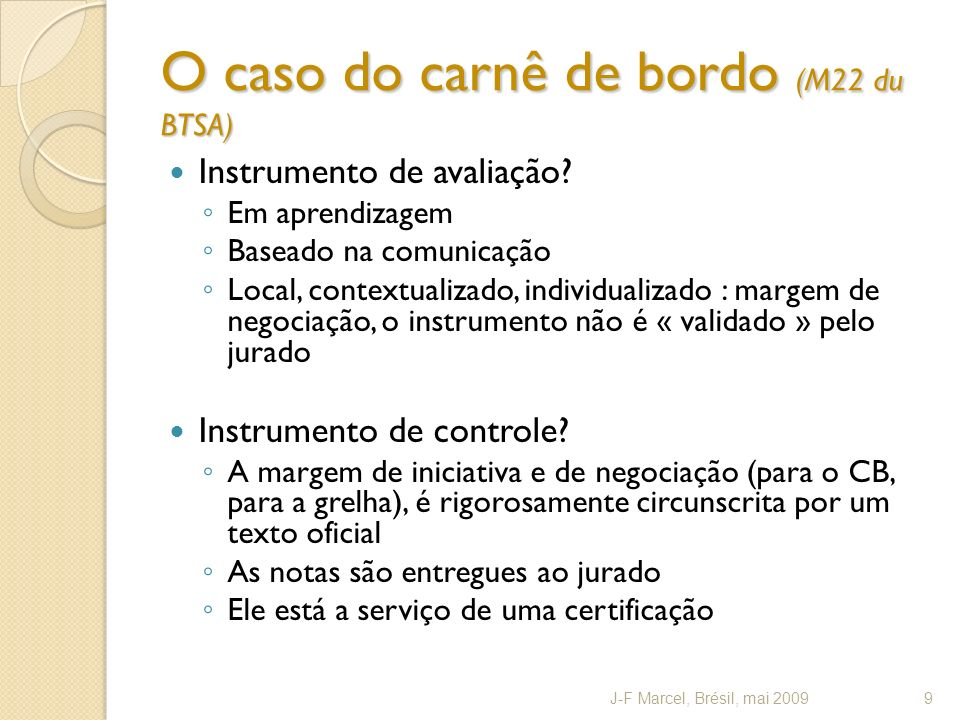 O caso do carnê de bordo (M22 du BTSA)
