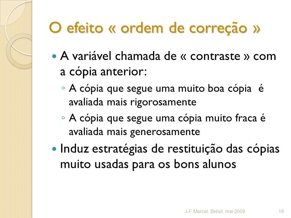 O efeito « ordem de correção »