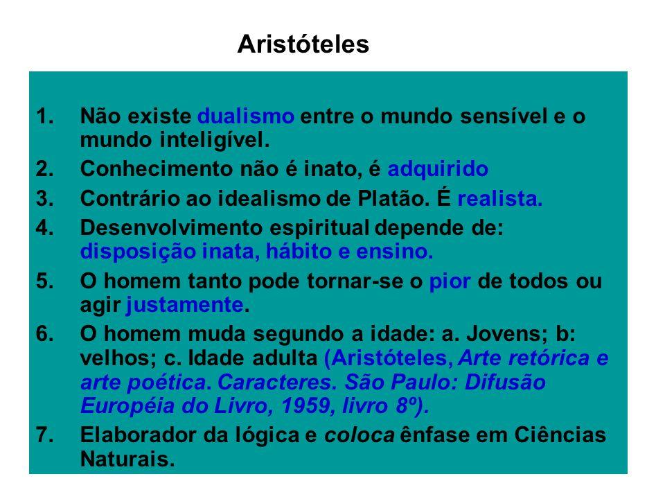 AristótelesNão existe dualismo entre o mundo sensível e o mundo inteligível. Conhecimento não é inato, é adquirido.