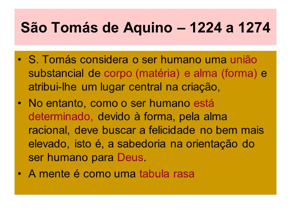 São Tomás de Aquino – 1224 a 1274