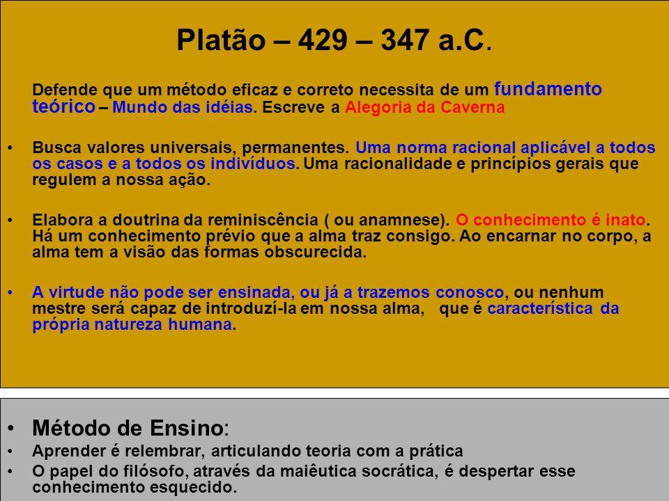 Platão – 429 – 347 a.C. Método de Ensino: