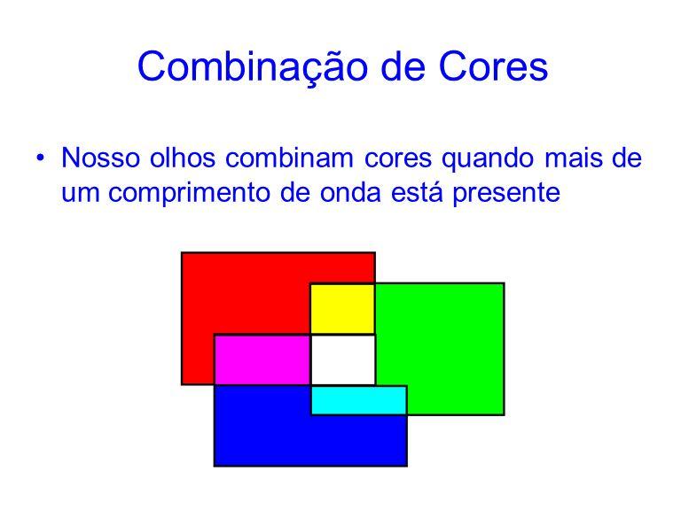 Combinação de Cores Nosso olhos combinam cores quando mais de um comprimento de onda está presente