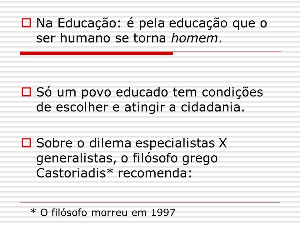 Na Educação: é pela educação que o ser humano se torna homem.